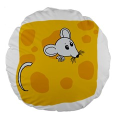 Rat Mouse Cheese Animal Mammal Large 18  Premium Flano Round Cushions