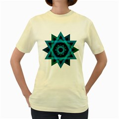 Transparent Triangles Women s Yellow T Shirt