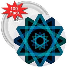 Transparent Triangles 3  Buttons (100 Pack)