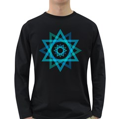 Transparent Triangles Long Sleeve Dark T Shirts