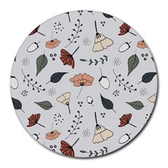 Grey Toned Pattern Round Mousepads