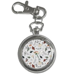 Grey Toned Pattern Key Chain Watches