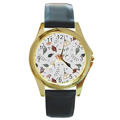 Grey Toned Pattern Round Gold Metal Watch