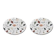 Grey Toned Pattern Cufflinks (oval) by Nexatart
