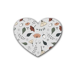 Grey Toned Pattern Rubber Coaster (heart)