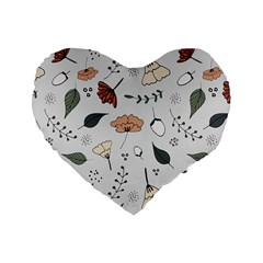 Grey Toned Pattern Standard 16  Premium Heart Shape Cushions