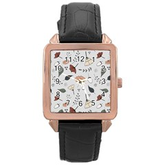 Grey Toned Pattern Rose Gold Leather Watch