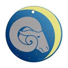 Ram Zodiac Sign Zodiac Moon Star Ornament (round)