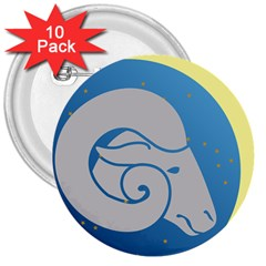 Ram Zodiac Sign Zodiac Moon Star 3  Buttons (10 Pack)