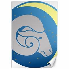 Ram Zodiac Sign Zodiac Moon Star Canvas 12  X 18