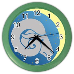 Ram Zodiac Sign Zodiac Moon Star Color Wall Clocks