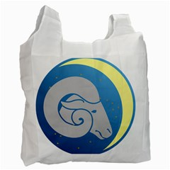 Ram Zodiac Sign Zodiac Moon Star Recycle Bag (two Side)