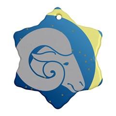 Ram Zodiac Sign Zodiac Moon Star Ornament (snowflake)