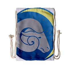 Ram Zodiac Sign Zodiac Moon Star Drawstring Bag (small) by Nexatart
