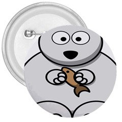 Bear Polar Bear Arctic Fish Mammal 3  Buttons