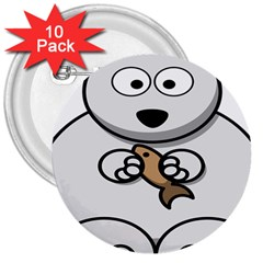 Bear Polar Bear Arctic Fish Mammal 3  Buttons (10 Pack)