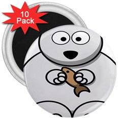 Bear Polar Bear Arctic Fish Mammal 3  Magnets (10 Pack)