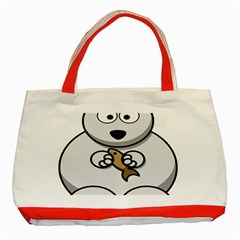 Bear Polar Bear Arctic Fish Mammal Classic Tote Bag (red)
