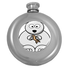 Bear Polar Bear Arctic Fish Mammal Round Hip Flask (5 Oz)