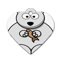 Bear Polar Bear Arctic Fish Mammal Dog Tag Heart (two Sides)