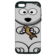 Bear Polar Bear Arctic Fish Mammal Apple Iphone 5 Hardshell Case (pc+silicone)