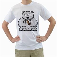 Bear Polar Bear Arctic Fish Mammal Men s T Shirt (white)