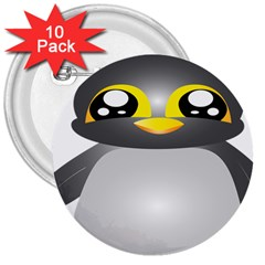 Cute Penguin Animal 3  Buttons (10 Pack)