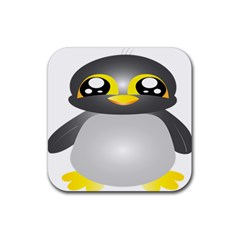 Cute Penguin Animal Rubber Square Coaster (4 Pack)