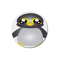 Cute Penguin Animal Rubber Round Coaster (4 Pack)
