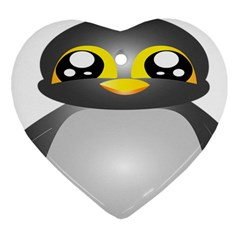 Cute Penguin Animal Heart Ornament (two Sides)