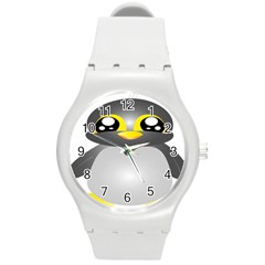 Cute Penguin Animal Round Plastic Sport Watch (m)