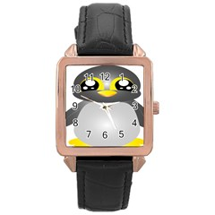 Cute Penguin Animal Rose Gold Leather Watch