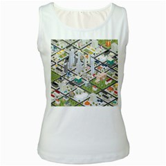 Simple Map Of The City Women s White Tank Top