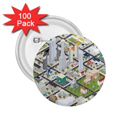 Simple Map Of The City 2 25  Buttons (100 Pack)