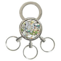 Simple Map Of The City 3 Ring Key Chains