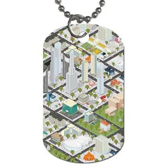 Simple Map Of The City Dog Tag (one Side)