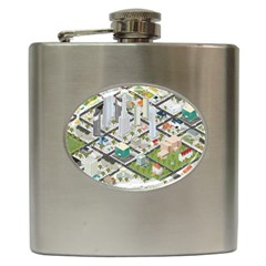 Simple Map Of The City Hip Flask (6 Oz)