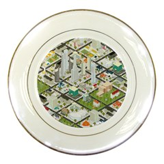 Simple Map Of The City Porcelain Plates