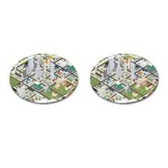 Simple Map Of The City Cufflinks (oval)