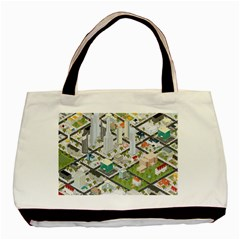 Simple Map Of The City Basic Tote Bag (two Sides)