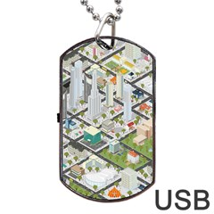 Simple Map Of The City Dog Tag Usb Flash (two Sides)