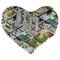 Simple Map Of The City Large 19  Premium Heart Shape Cushions