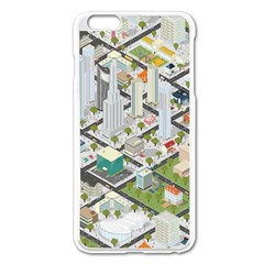 Simple Map Of The City Apple Iphone 6 Plus/6s Plus Enamel White Case