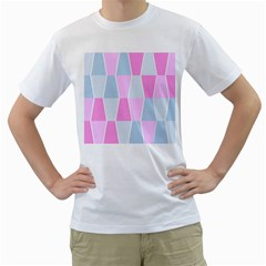 Geometric Pattern Design Pastels Men s T Shirt (white) (two Sided)