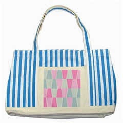 Geometric Pattern Design Pastels Striped Blue Tote Bag
