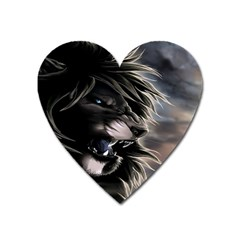 Angry Lion Digital Art Hd Heart Magnet