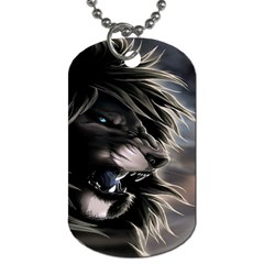 Angry Lion Digital Art Hd Dog Tag (two Sides)