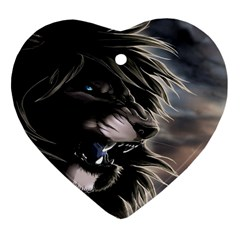 Angry Lion Digital Art Hd Heart Ornament (two Sides)