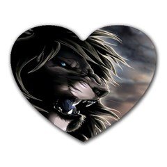 Angry Lion Digital Art Hd Heart Mousepads