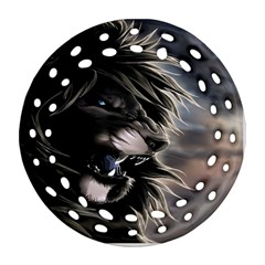 Angry Lion Digital Art Hd Round Filigree Ornament (two Sides)